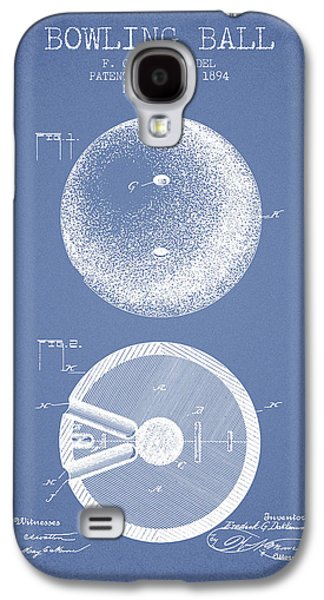 1894 Bowling Ball Patent - Light Blue Galaxy S4 Case by Aged Pixel