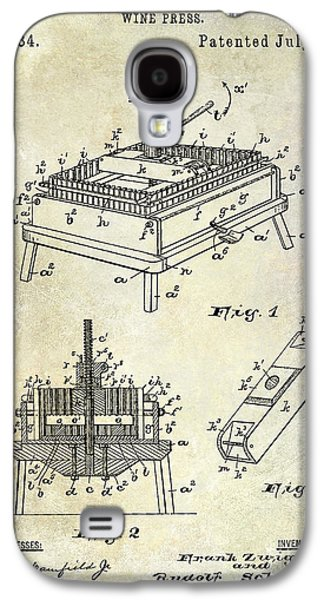 1894 Wine Press Patent Galaxy S4 Case by Jon Neidert