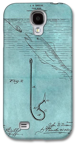 1899 Fishing Hook Patent Blue Galaxy S4 Case by Dan Sproul