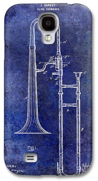 1902 Trombone Patent Blue Galaxy S4 Case by Jon Neidert