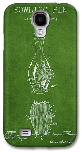 1903 Bowling Pin Patent - Green Galaxy S4 Case by Aged Pixel