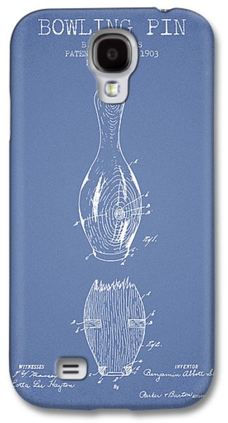 1903 Bowling Pin Patent - Light Blue Galaxy S4 Case by Aged Pixel