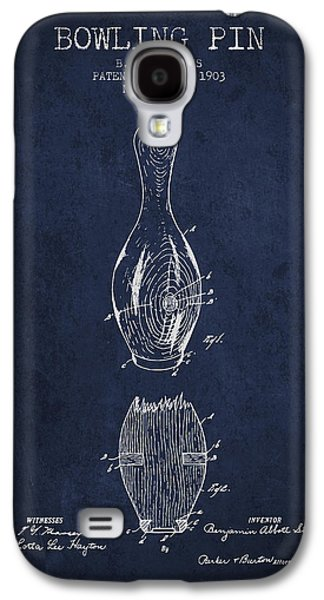 1903 Bowling Pin Patent - Navy Blue Galaxy S4 Case by Aged Pixel