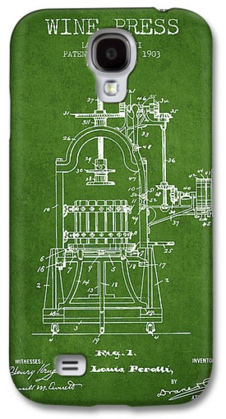 1903 Wine Press Patent - Green 02 Galaxy S4 Case by Aged Pixel