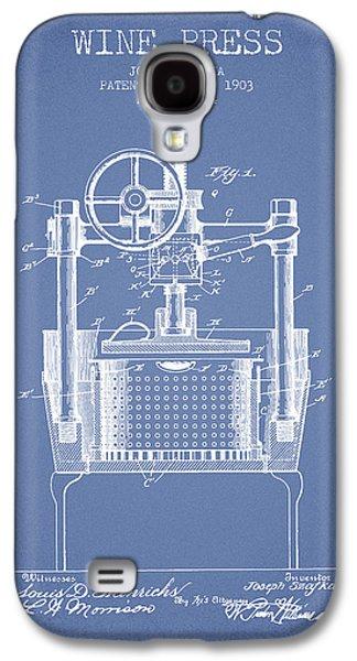 1903 Wine Press Patent - Light Blue Galaxy S4 Case by Aged Pixel