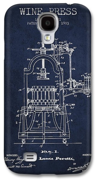 1903 Wine Press Patent - Navy Blue 02 Galaxy S4 Case by Aged Pixel