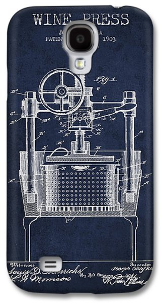 1903 Wine Press Patent - Navy Blue Galaxy S4 Case by Aged Pixel