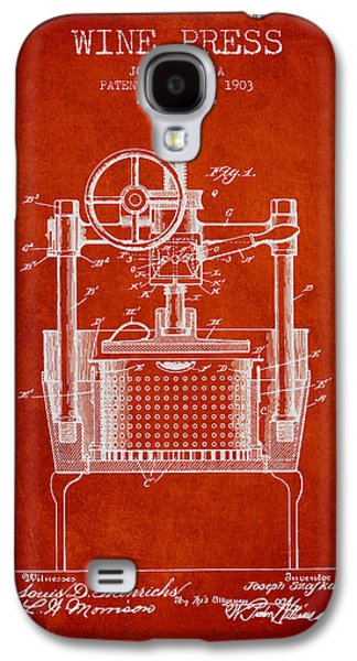 1903 Wine Press Patent - Red Galaxy S4 Case by Aged Pixel