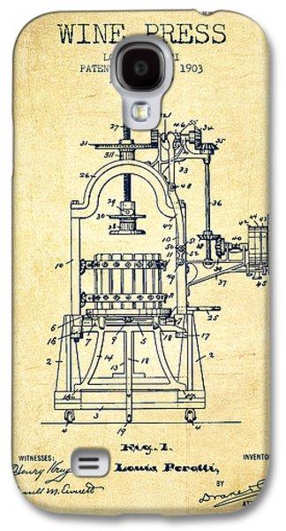 1903 Wine Press Patent - Vintage 02 Galaxy S4 Case by Aged Pixel