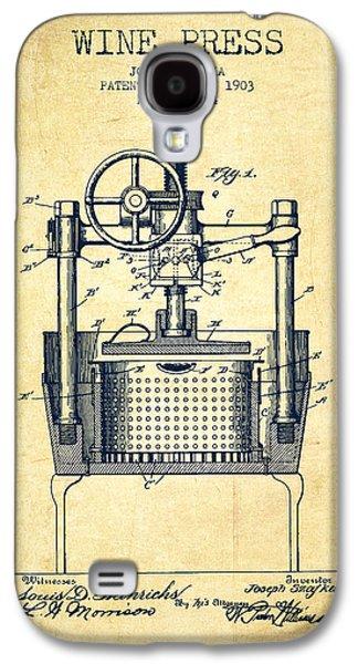 1903 Wine Press Patent - Vintage Galaxy S4 Case by Aged Pixel