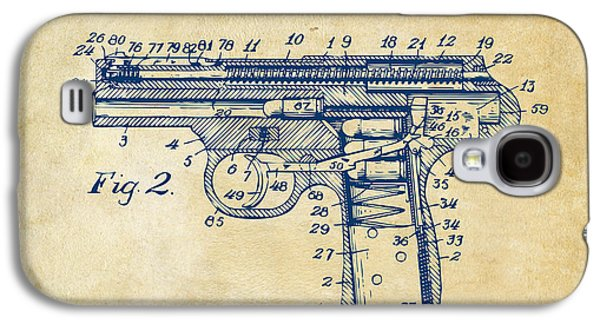 Lines Drawings Galaxy S4 Cases - 1911 Automatic Firearm Patent Minimal - Vintage Galaxy S4 Case by Nikki Marie Smith