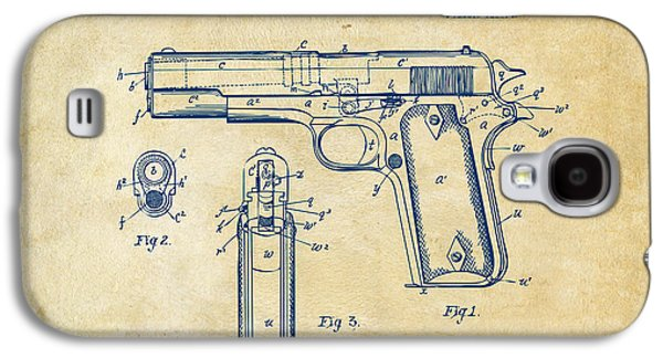 1911 Colt 45 Browning Firearm Patent Artwork Vintage Galaxy S4 Case by Nikki Marie Smith