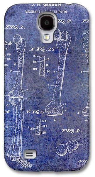 1911 Mechanical Skeleton Patent 1 Blue Galaxy S4 Case