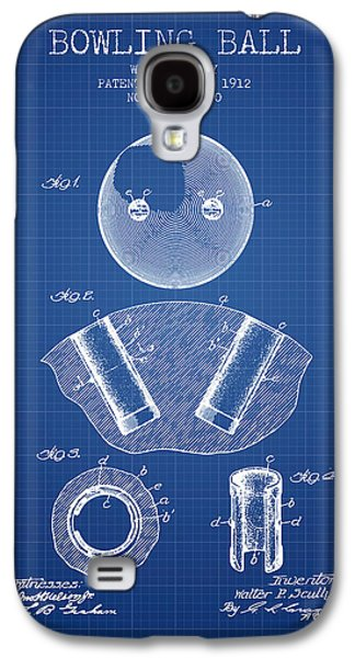 1912 Bowling Ball Patent - Blueprint Galaxy S4 Case by Aged Pixel