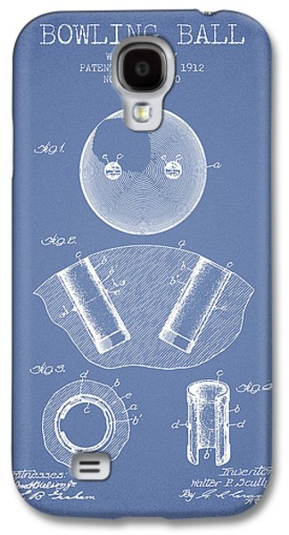1912 Bowling Ball Patent - Light Blue Galaxy S4 Case by Aged Pixel