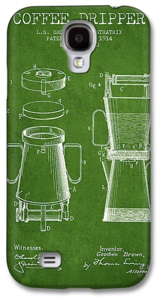 1914 Coffee Dripper Patent - Green Galaxy S4 Case by Aged Pixel