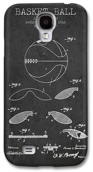 1916 Basket Ball Patent - Charcoal Galaxy S4 Case by Aged Pixel