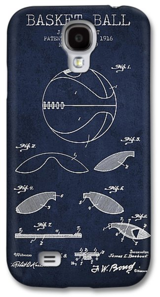 1916 Basket Ball Patent - Navy Blue Galaxy S4 Case by Aged Pixel