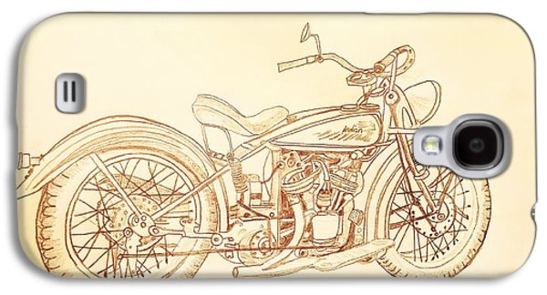 1920 Indian Motorcycle Graphite Pencil - Sepia Galaxy S4 Case by Scott D Van Osdol