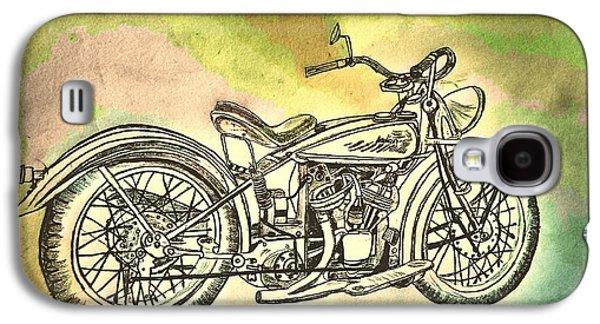 1920 Indian Motorcycle Graphite Pencil - Watercolor Galaxy S4 Case