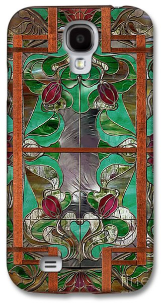 1922 Art Nouveau Stained Glass Panel Galaxy S4 Case by Mindy Sommers