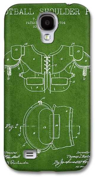 1924 Football Shoulder Pad Patent - Green Galaxy S4 Case by Aged Pixel