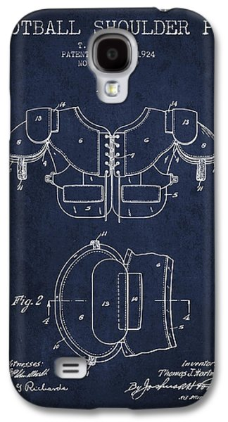 1924 Football Shoulder Pad Patent - Navy Blue Galaxy S4 Case by Aged Pixel