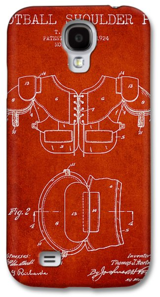 1924 Football Shoulder Pad Patent - Red Galaxy S4 Case by Aged Pixel