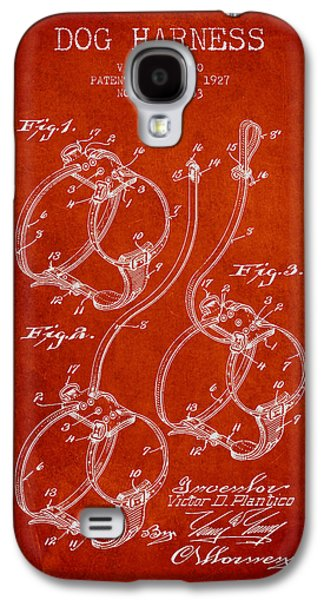 1927 Dog Harness Patent - Red Galaxy S4 Case