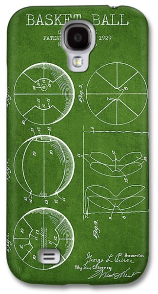 1929 Basket Ball Patent - Green Galaxy S4 Case by Aged Pixel