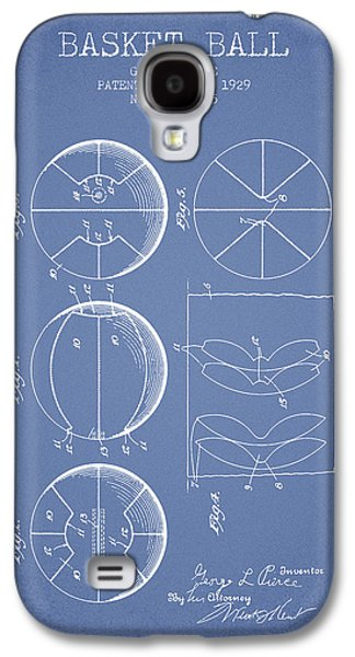 1929 Basket Ball Patent - Light Blue Galaxy S4 Case by Aged Pixel