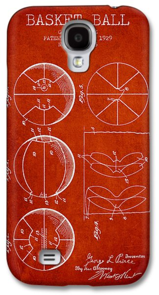 1929 Basket Ball Patent - Red Galaxy S4 Case by Aged Pixel