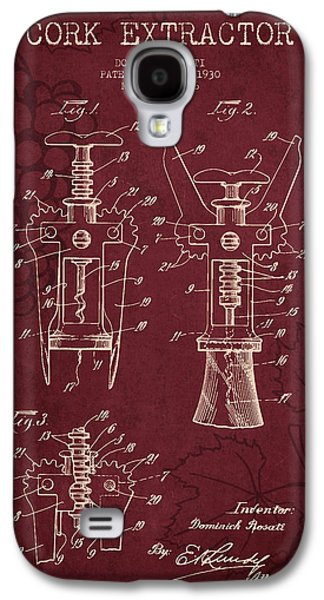 1930 Cork Extractor Patent - Red Wine Galaxy S4 Case by Aged Pixel