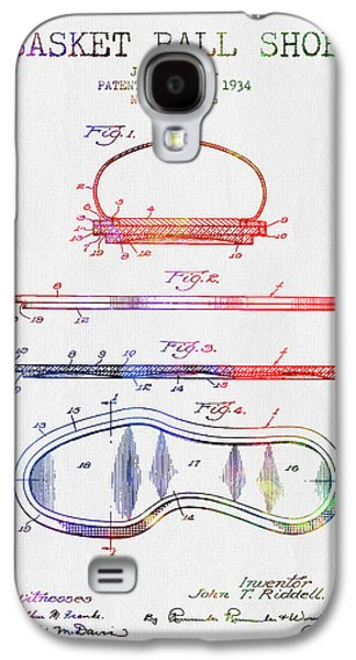 1934 Basket Ball Shoe Patent - Color Galaxy S4 Case by Aged Pixel