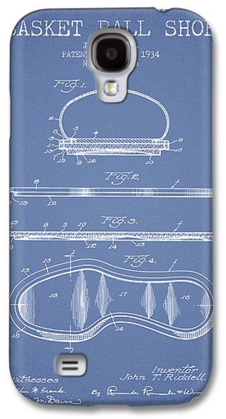 1934 Basket Ball Shoe Patent - Light Blue Galaxy S4 Case by Aged Pixel