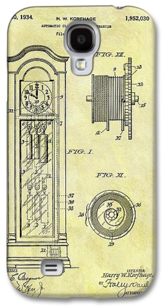 1934 Grandfather Clock Patent Galaxy S4 Case by Dan Sproul