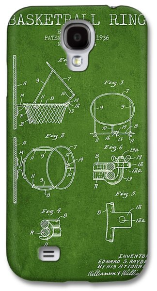 1936 Basketball Ring Patent - Green Galaxy S4 Case by Aged Pixel