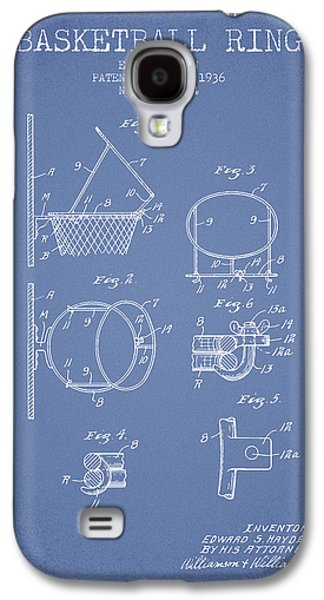 1936 Basketball Ring Patent - Light Blue Galaxy S4 Case by Aged Pixel