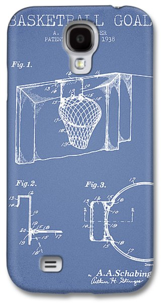 1938 Basketball Goal Patent - Light Blue Galaxy S4 Case by Aged Pixel