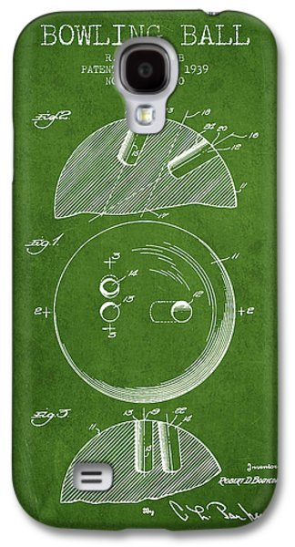 1939 Bowling Ball Patent - Green Galaxy S4 Case by Aged Pixel