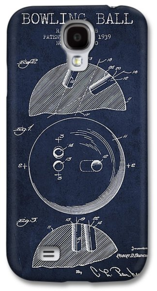 1939 Bowling Ball Patent - Navy Blue Galaxy S4 Case by Aged Pixel