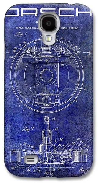 1941 Porsche Brake Mechanism Patent Blue  Galaxy S4 Case by Jon Neidert