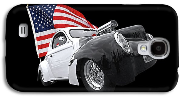 1941 Willys Coupe With Us Flag Galaxy S4 Case by Gill Billington