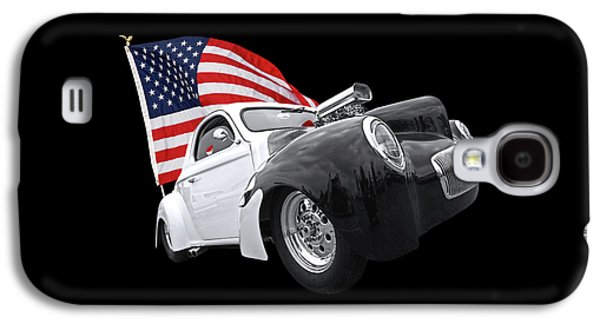1941 Willys Coupe With Us Flag Galaxy S4 Case