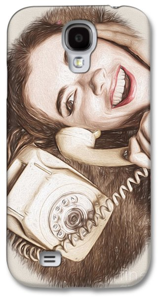 1950s Pinup Girl Talking On Retro Phone Galaxy S4 Case