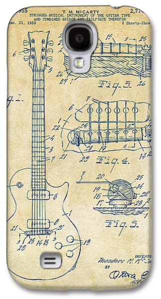 1955 Mccarty Gibson Les Paul Guitar Patent Artwork Vintage Galaxy S4 Case by Nikki Marie Smith