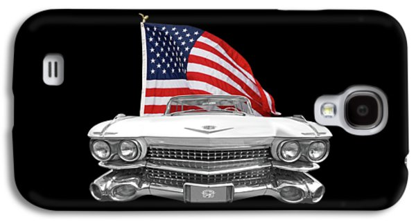 1959 Cadillac With Us Flag Galaxy S4 Case