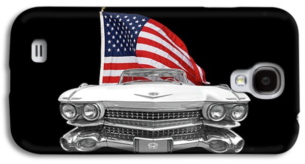 1959 Cadillac With Us Flag Galaxy S4 Case by Gill Billington