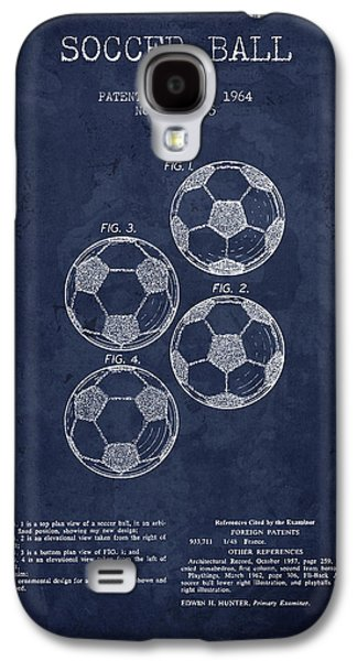 1964 Soccer Ball Patent - Navy Blue - Nb Galaxy S4 Case by Aged Pixel