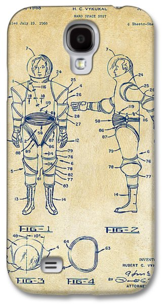 1968 Hard Space Suit Patent Artwork - Vintage Galaxy S4 Case by Nikki Marie Smith